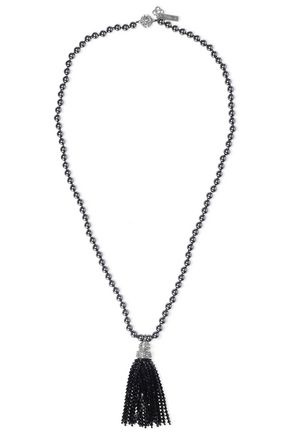 OSCAR DE LA RENTA Tasseled silver-tone, faux pearl and crystal necklace