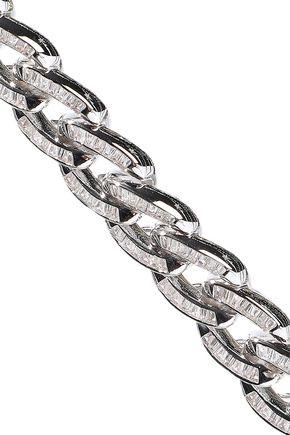 NOIR JEWELRY Chain Gang rhodium-plated crystal choker