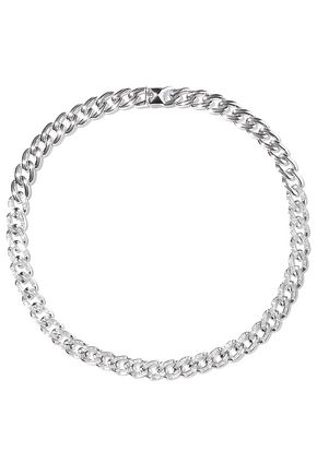 NOIR JEWELRY Chain Gang rhodium-plated crystal choker