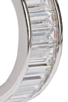 NOIR JEWELRY Silver-tone crystal hoop earrings