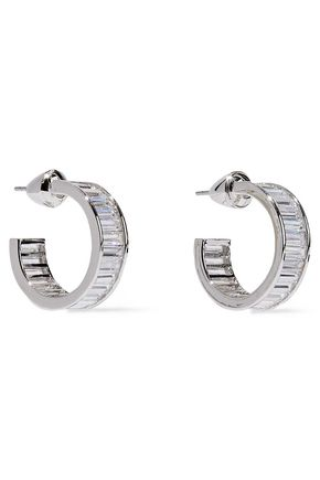 NOIR JEWELRY Silver-tone crystal hoop earrings