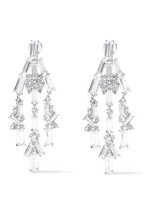 NOIR JEWELRY Rhodium-plated crystal earrings