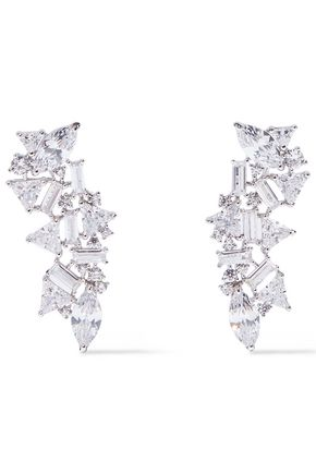 NOIR JEWELRY Silver-tone crystal earrings