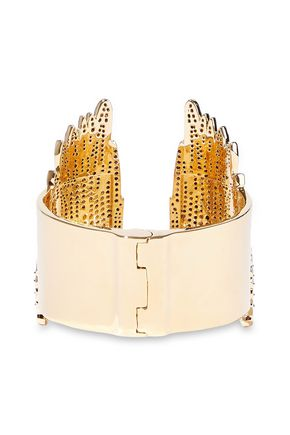 NOIR JEWELRY Wing It 14-karat gold-plated crystal cuff