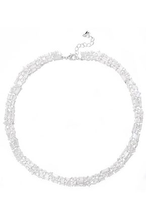 NOIR JEWELRY Récolter rhodium-plated crystal choker