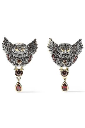NOIR JEWELRY Wise Wings 14-karat gold-plated crystal earrings
