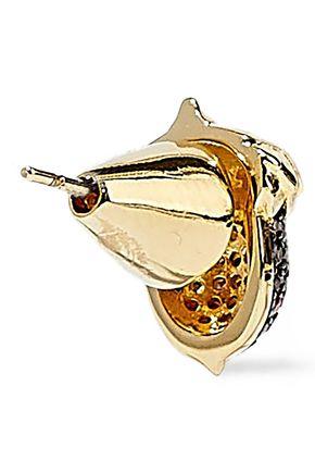 NOIR JEWELRY Acorn 14-karat gold-plated crystal earrings