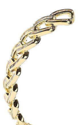 NOIR JEWELRY Chain Gang large gold-plated crystal hoop earrings