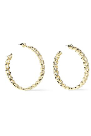 NOIR JEWELRY Chain Gang large gold-plated crystal hoop earrings
