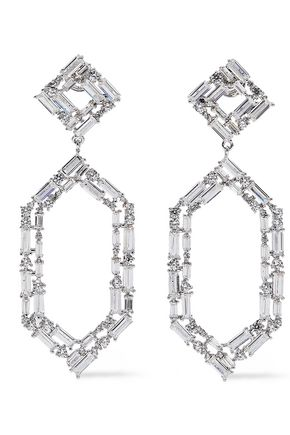 NOIR JEWELRY À Facettes rhodium-plated crystal earrings