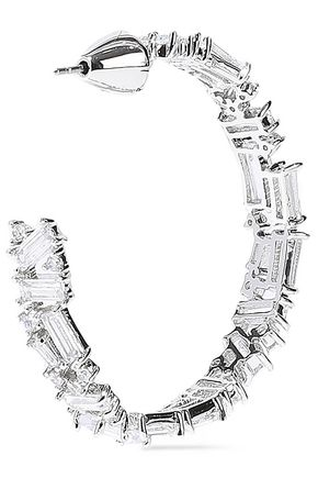 NOIR JEWELRY Récolter rhodium-plated crystal hoop earrings