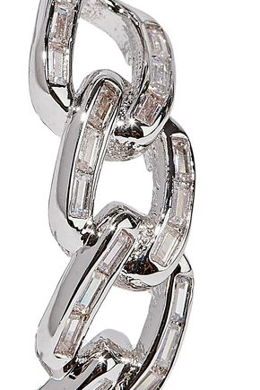 NOIR JEWELRY Rhodium-plated crystal hoop earrings