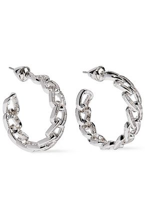 NOIR JEWELRY Rhodium-plated crystal hoop earrings