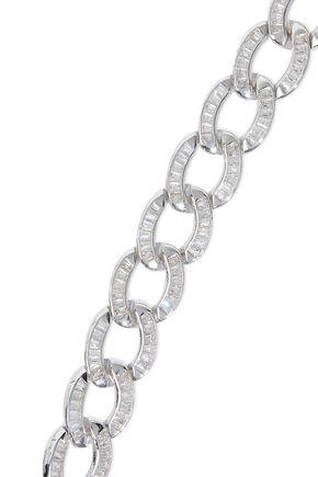 NOIR JEWELRY Chain Gang rhodium-plated crystal bracelet
