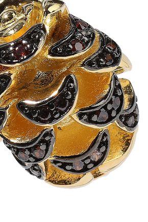 NOIR JEWELRY Pinecone 14-karat gold-plated crystal earrings