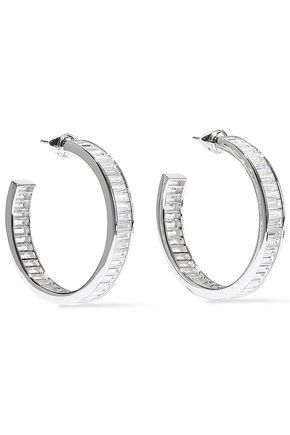 NOIR JEWELRY Rangées rhodium-plated crystal hoop earrings