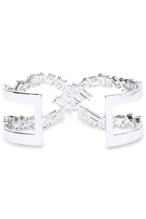NOIR JEWELRY Récolter X rhodium-plated crystal cuff