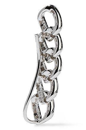NOIR JEWELRY Chain Gang rhodium-plated crystal ear cuffs