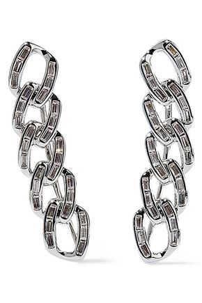 NOIR JEWELRY Chain Gang rhodium-plated crystal ear cuffs
