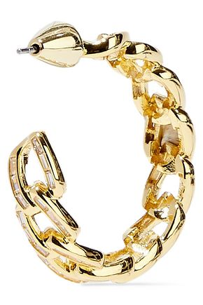 NOIR JEWELRY Chain Gang small gold-plated crystal hoop earrings
