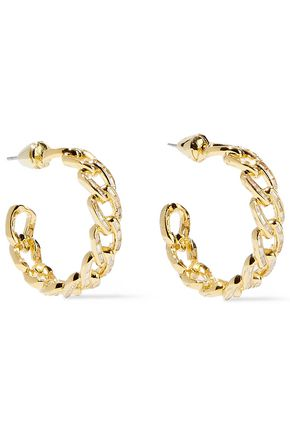NOIR JEWELRY Gold-tone crystal hoop earrings