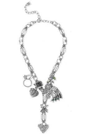 DANNIJO Morjoram oxidized silver-plated crystal necklace