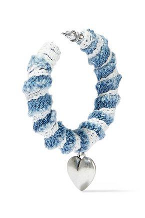 DANNIJO Lou oxidized silver-plated, denim and lace hoop earrings