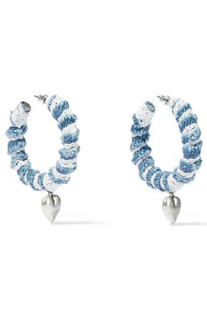 DANNIJO Lou oxidized silver-plated, denim and lace hoop earrings
