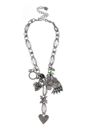 DANNIJO Oxidized silver-plated crystal necklace