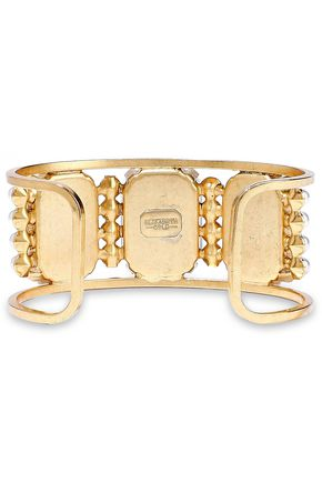ELIZABETH COLE 24-karat gold-plated, stone and faux pearl cuff