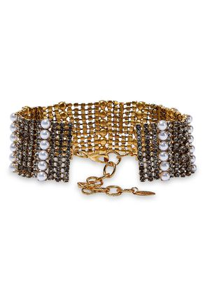 ELIZABETH COLE 24-karat gold-plated, crystal and faux pearl choker
