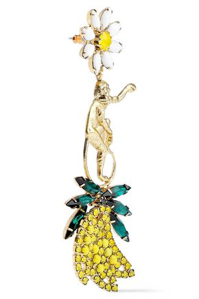 ELIZABETH COLE 24-karat gold-plated, crystal, and stone earrings