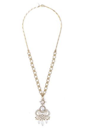 ELIZABETH COLE 24-karat gold-plated crystal, and faux pearl necklace