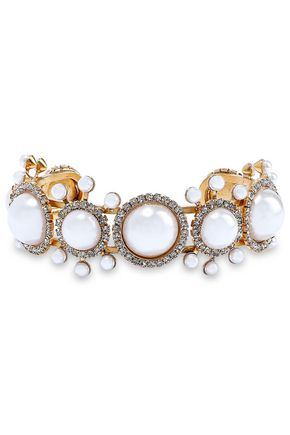 ELIZABETH COLE 24-karat gold-plated, faux pearl and crystal cuff