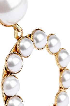 ELIZABETH COLE 24-karat gold-plated faux pearl earrings