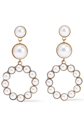 ELIZABETH COLE 24-karat gold-plated faux pearl earrings