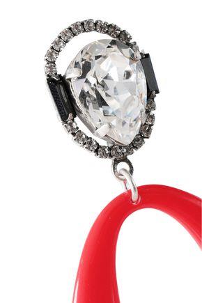 DANNIJO Oxidized silver-plated, crystal and enamel earrings