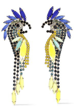 ELIZABETH COLE 24-karat gold-plated, stone and crystal earrings