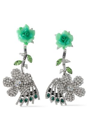 DANNIJO Rhodium-plated, crystal and floral-appliquéd earrings