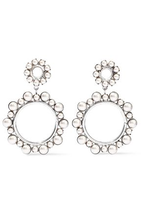 ELIZABETH COLE Silver-tone faux pearl hoop earrings