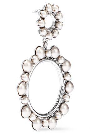 ELIZABETH COLE Silver-tone faux pearl hoop earrings