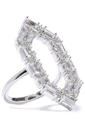 NOIR JEWELRY Rhodium-plated crystal ring