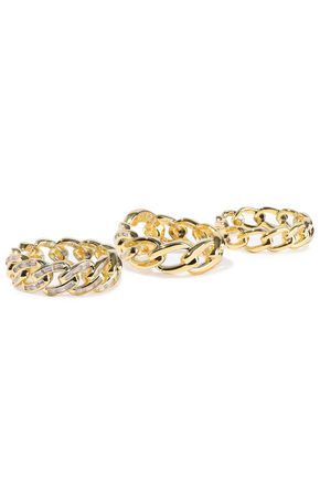 NOIR JEWELRY Set of three gold-plated crystal rings