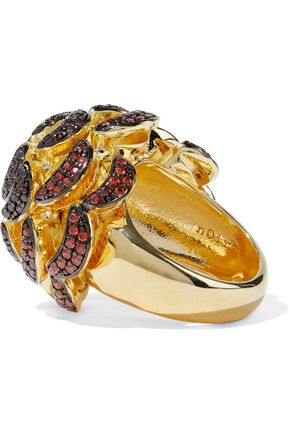 NOIR JEWELRY Pinecone 14-karat gold-plated crystal ring