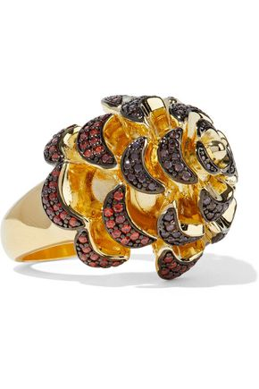 NOIR JEWELRY 14-karat gold-plated crystal ring