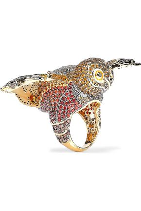NOIR JEWELRY Night Owl 14-karat gold-plated crystal ring