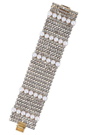 ELIZABETH COLE Colette 24-karat gold-plated, faux pearl and crystal bracelet