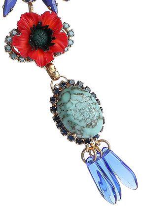 ELIZABETH COLE Mezzi 24-karat gold-plated, resin, stone and Swarovski crystal necklace