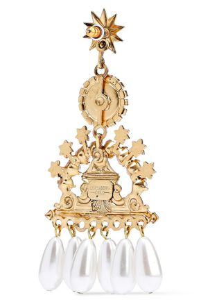 ELIZABETH COLE 24-karat gold-plated, faux pearl and crystal earrings