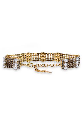 ELIZABETH COLE 24-karat gold-plated crystal and faux pearl choker